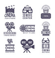 cinema labels set badges with black pictures at vector image vector image