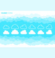 cloudy sky and cloud icons set vector image