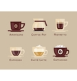 Coffee icon set menu Coffee beverages types vector image vector image