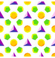 colored polyhedrons seamless pattern vector image vector image