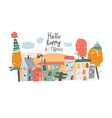 cute little town with autumnal trees in cartoon vector image