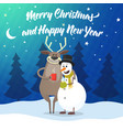 deer and snowman cartoon vector image vector image