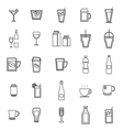 Drink line icons on white background vector image vector image