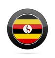 flag of uganda shiny black round button vector image vector image