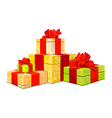 four colorful gift box on white background vector image vector image