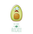 funny cartoon cute green avocado character vector image