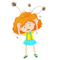 Girl with headlice jumping out vector image vector image