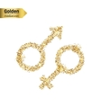 Gold glitter icon of gender isolated on vector image