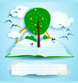 growing open book with landscape and tree vector image