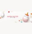 happy easter horizontal banner vector image vector image