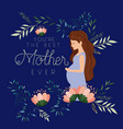 happy mothers day card with pregnancy mom vector image
