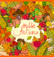 hello autumn season banner with hand draw vector image vector image