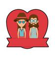 hippie cute couple cartoon vector image
