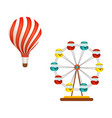 hot air balloon and ferris wheel in amusement park vector image