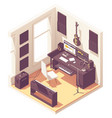 Isometric home music recording studio