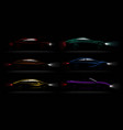 lightened cars darkness realistic set vector image vector image