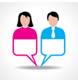 Male and female icon with message bubble vector image vector image