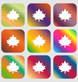 Maple leaf icon Nine buttons with bright vector image vector image
