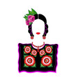 mexican woman in tehuana clothing mexican huipil vector image vector image