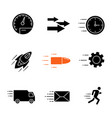 motion glyph icons set vector image