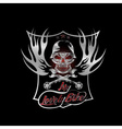 my lovely bike auto silver crest with skull in vector image vector image