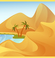 oasis with palm trees at desert with sand hills vector image