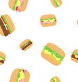 pattern hamburger cheeseburger vector image