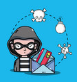 person hacker to programmer virus in the system vector image vector image