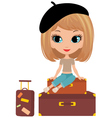 pretty girl on suitcase vector image