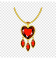 ruby heart jewelry icon realistic style vector image vector image