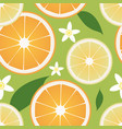 seamless pattern lemon and orange slices and vector image vector image