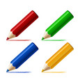 set different colored pencils isolated on white vector image