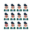 set of cute man facial expressions vector image