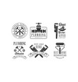 set of monochrome emblems for plumbing and vector image vector image