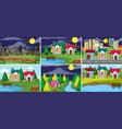 set of rural and urban landscape vector image