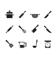 Silhouette Cooking equipment and tools icons vector image vector image
