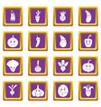 smiling vegetables icons set purple vector image vector image