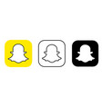 social media icon set for snapchat in different vector image vector image