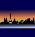 sunset over paris in silhouette vector image vector image