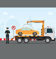 traffic policeman writing a parking ticket to car vector image vector image
