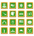 usa icons set green vector image vector image