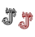 vintage capital letter j in medieval style vector image vector image