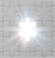 white jigsaw puzzle with missed and shining piece vector image vector image