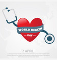 world health day letter with love shape icon vector image vector image