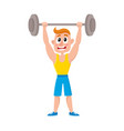 young man squatting with barbell doing sport vector image vector image