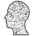 doodle education icons in head vector image