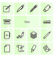 14 pen icons vector image vector image