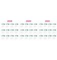 2019 2020 2021 calendar template vector image