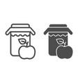 apple juice line and glyph icon jar of apple vector image vector image