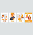 banners with happy people cartoon meditating vector image